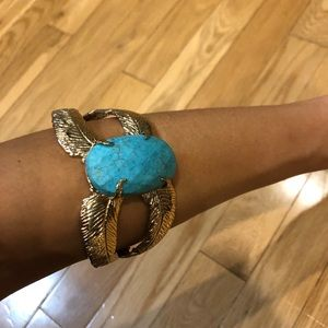 Vintage gold arm cuff turquoise stone